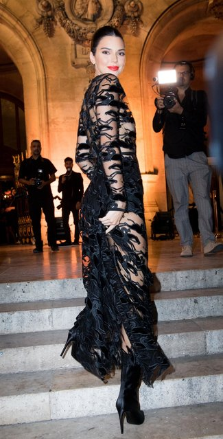 Kendall Jenner arrives at the Longchamp 70th Anniversary Celebration at Opera Garnier on September 11, 2018 in Paris, France. (Photo by BACKGRID UK)