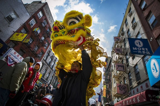 Performers present a lion dance during Chinese Lunar New Year celebrations in New York's China Town February 19, 2015. (Photo by Brendan McDermid/Reuters)