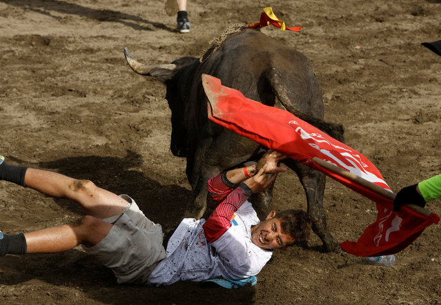 """A man is hit by a bull during a traditional bullfighting festival called """"Toros a la tica"""" in San Jose, Costa Rica January 6, 2017. (Photo by Juan Carlos Ulate/Reuters)"""