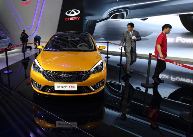 Chery Automobile Co. Alpha 5 stands on display at the 16th Shanghai International Automobile Industry Exhibition (Auto Shanghai 2015) in Shanghai, China, on Monday, April 20, 2015. (Photo by Tomohiro Ohsumi/Bloomberg)