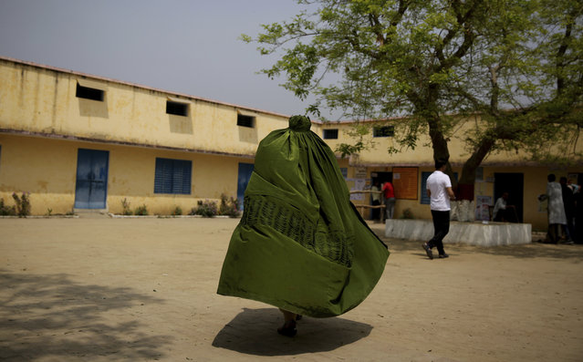 An Indian Muslim woman walks toward a polling station to cast her vote in village Shahpur near Muzaffarnagar, India, Thursday, April 11, 2019. Polls opened Thursday in the first phase of India's general elections, seen as a referendum on Prime Minister Narendra Modi and his Bharatiya Janata Party. (Photo by Altaf Qadri/AP Photo)