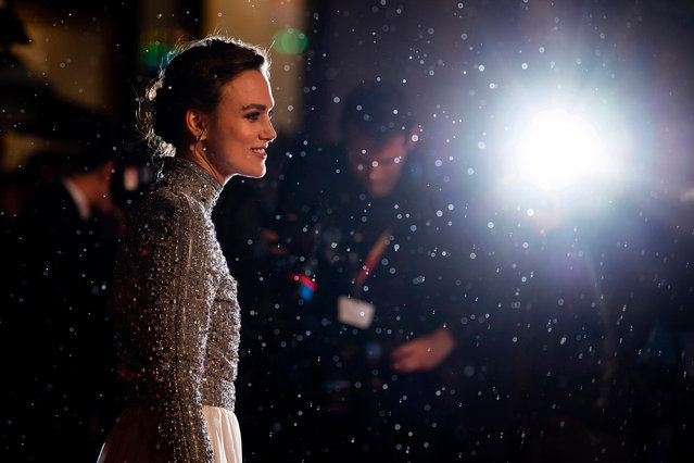 Keira Knightley arrives at the premiere of Colette at the BFI London film festival on 11 October 2018. (Photo by Will Oliver/EPA)
