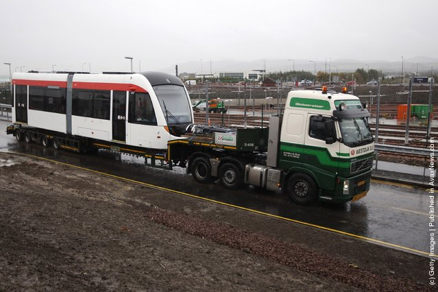 The First Tram Arrives In Edinburgh