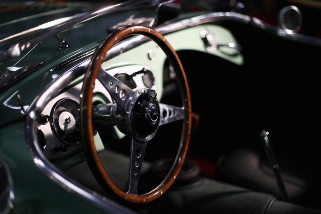 A detailed view of the dashboard and steering wheel on a Austin Healey 100M during the The 40th Antwerp Classic Salon run by SIHA Salons Automobiles and held at Antwerp EXPO Halls on March 3, 2017 in Antwerpen, Belgium. (Photo by Dean Mouhtaropoulos/Getty Images)