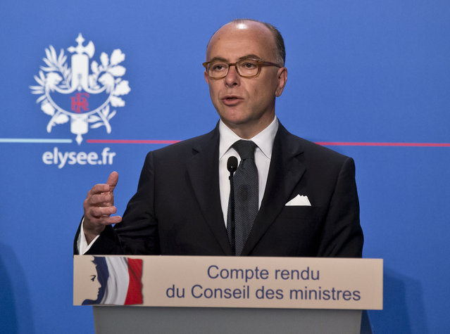 Frances Interior Minister Bernard Cazeneuve, speaks to the media during a media conference at the Elysee Palace in Paris, Wednesday, June 17, 2015.  Interior Minister Bernard Cazeneuve announced during a media conference a plan to handle the influx of migrants. (AP Photo/Michel Euler)