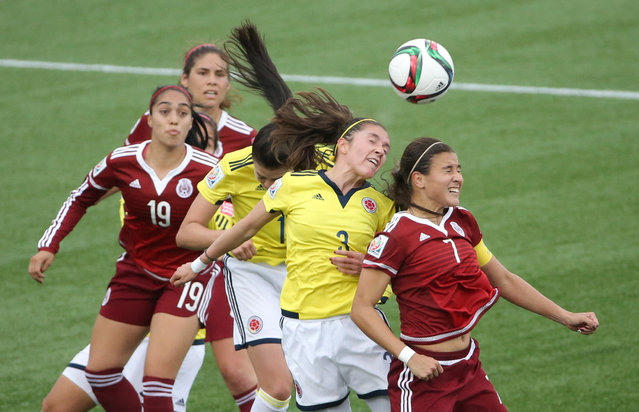 Colombia midfielder Natalia Gaitan (3) goes up for a header against Mexico midfielder Nayeli Rangel (7) in Moncton, June 9, 2015. (Photo by Matt Kryger/USA TODAY Sports)