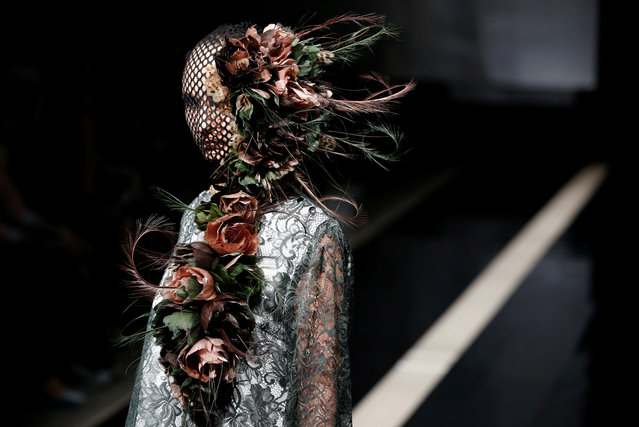 A model presents creation by designers Viviano Sue and Misa Ii from their Autumn/Winter 2017 collection during Tokyo Fashion Week in Tokyo, Japan March 23, 2017. (Photo by Kim Kyung-Hoon/Reuters)