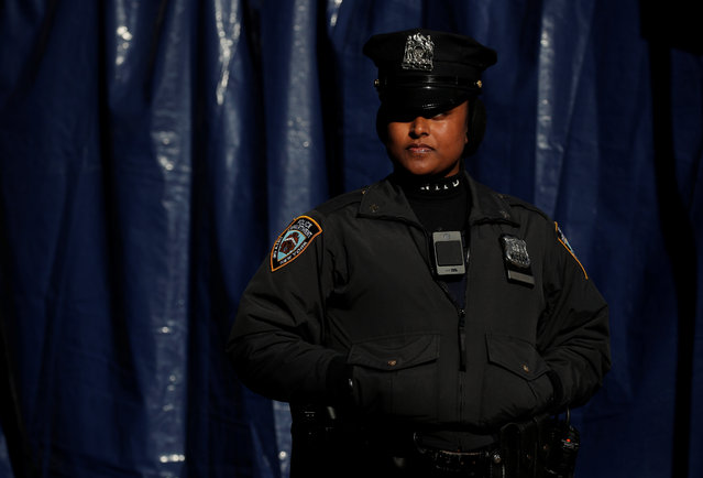 A police officer looks on during the New York City Marathon in Manhattan, New York, United States on November 03, 2019. (Photo by Brendan McDermid/Reuters)