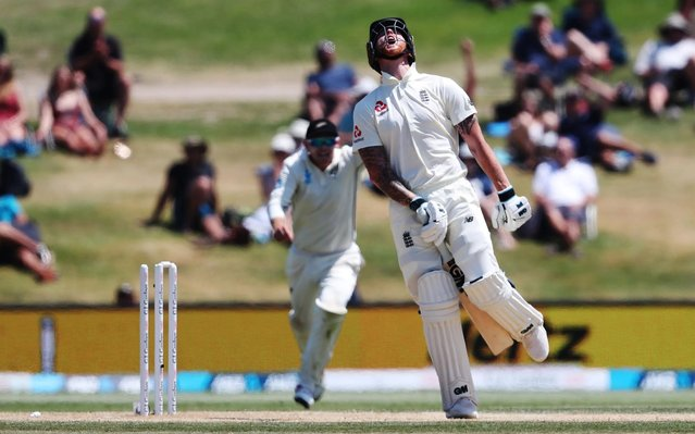 England's Ben Stokes is dismissed during the fifth day of the first cricket test between England and New Zealand at Bay Oval in Mount Maunganui on November 25, 2019. (Photo by Michael Bradley/AFP Photo)