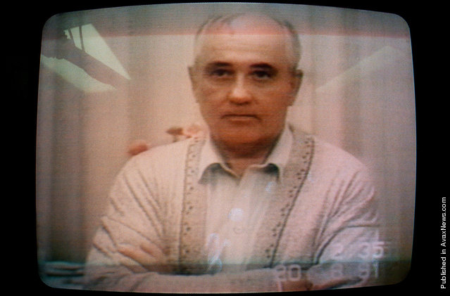 A picture shows Soviet President Mikhail Gorbachev speaking in a video message taped on August 19, 1991, the second day of his captivity. Gorbachev said there had been an unconstitutional coup and that he was completely well. Photo taken on August 25, 1991