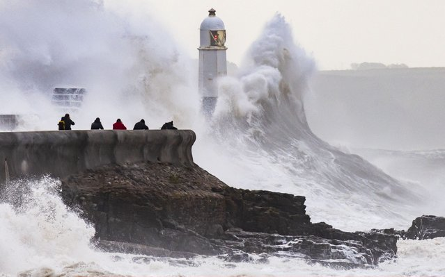 Waves crash against the harbour wall on October 4, 2019 in Porthcawl, Wales. The Met Office have issued a yellow weather warning for south-west England and parts of south Wales from 4am Friday as the remnants of Hurricane Lorenzo head towards the UK. (Photo by Matthew Horwood/Getty Images)