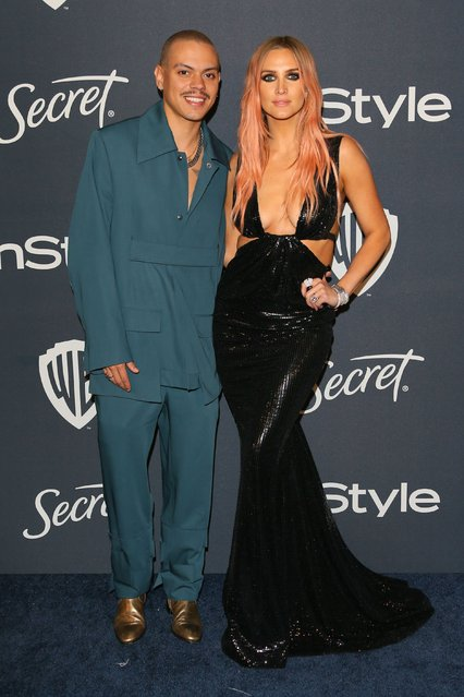 Singer-songwriter Ashlee Simpson and actor husband Evan Ross attend the 21st Annual InStyle And Warner Bros. Pictures Golden Globe After-Party in Beverly Hills, California on January 5, 2020. (Photo by Jean-Baptiste Lacroix/AFP Photo)