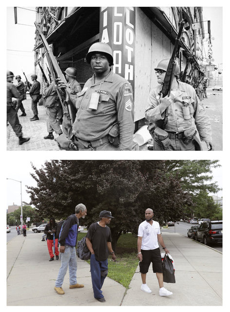 In a July 14, 1967 file photo, top, National Guardsmen stand at the corner of Springfield Avenue and Mercer Street in Newark, N.J., where four days of deadly violence and looting came to be known as the Newark riots. In a June 16, 2017 photo, bottom, men walk past the same corner 50 years later with greenery where buildings once stood. (Photo by AP Photo/Marty Lederhandler, top; Julio Cortez, bottom)