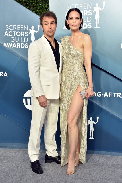 (L-R) Sam Rockwell and Leslie Bibb attend the 26th Annual Screen ActorsGuild Awards at The Shrine Auditorium on January 19, 2020 in Los Angeles, California. (Photo by Gregg DeGuire/Getty Images for Turner)