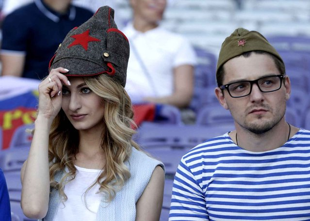 Russia supporters wait for the beginning of the Euro 2016 Group B soccer match between Russia and Wales at the Stadium municipal in Toulouse, France, Monday, June 20, 2016. (Photo by Petr David Josek/AP Photo)