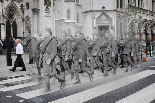 This digital composite image shows London, with Serbian soldiers marching in the Lord Mayor's show, in the last days of WWI, on 9th November 1918, juxtaposed with the capital in modern times. (Photo by Peter Macdiarmid/Getty Images)