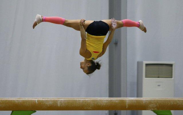 2016 Rio Olympics, Artistic gymnastics, Women's Training, Rio Athletes Park, Rio De Janeiro, Brazil on July 27, 2016. A gymnast from Ukraine trains. (Photo by Ivan Alvarado/Reuters)