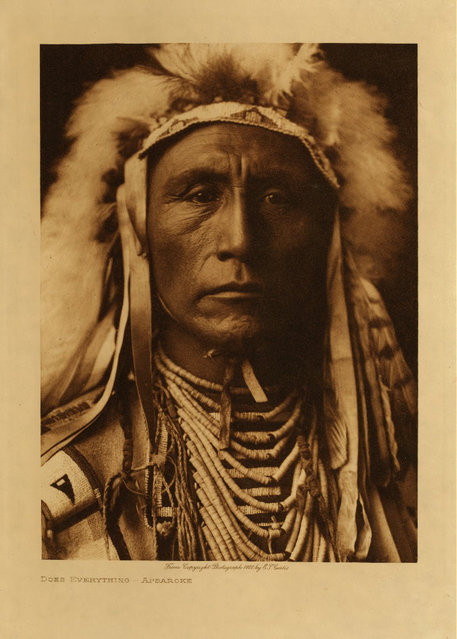 In the early 1900s, Edward S. Curtis spent more than 20 years documenting American Indian tribes. This is a man from the Apsaroke tribe in 1908. (Photo by Edward S. Curtis)