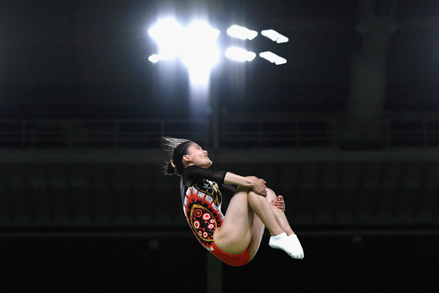 Rana Nakano of Japan competes during the Trampoline Gymnastics Women's Qualification on Day 7 of the Rio 2016 Olympic Games at the Rio Olympic Arena on August 12, 2016 in Rio de Janeiro, Brazil. (Photo by David Ramos/Getty Images)