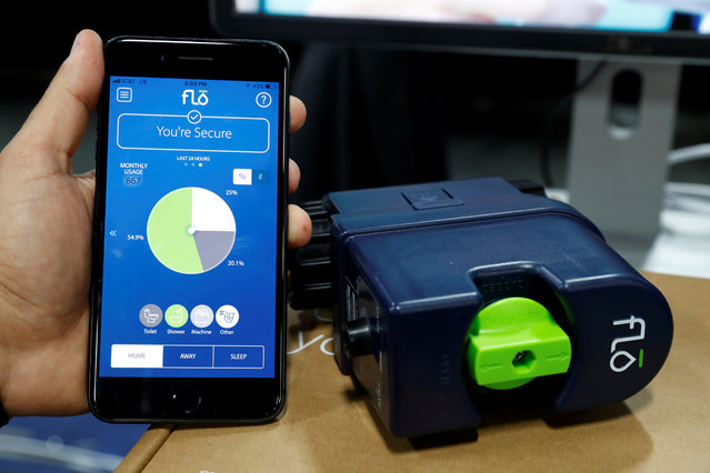 A Flo device, which can monitor water usage in your home and cut off water automatically in case of catastrophic flooding, is displayed during CES Unveiled at the 2018 CES in Las Vegas, Nevada, U.S. January 8, 2018. (Photo by Steve Marcus/Reuters)