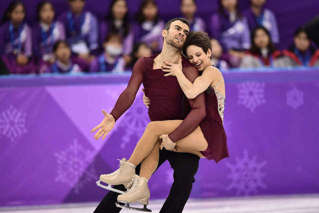 Canada's Meagan Duhamel and Canada's Eric Radford compete in the pair skating free skating of the figure skating event during the Pyeongchang 2018 Winter Olympic Games at the Gangneung Ice Arena in Gangneung on February 15, 2018. (Photo by Aris Messinis/AFP Photo)
