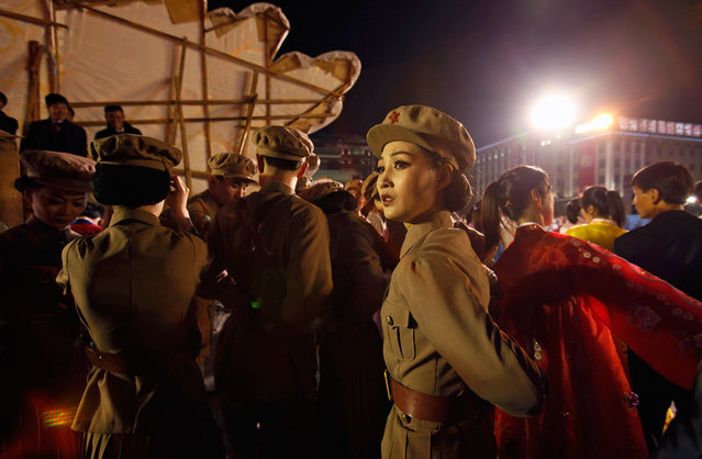 A dancer dressed as a soldier takes part in a gala show in Pyongyang, on April 16, 2012. (Photo by Bobby Yip/Reuters)