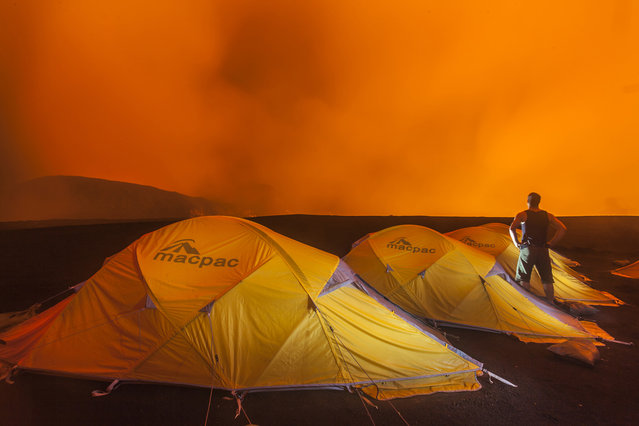 Campsite during the expedition into the Marum Volcano in Vanuatu. (Photo by Bradley Ambrose/Caters News)