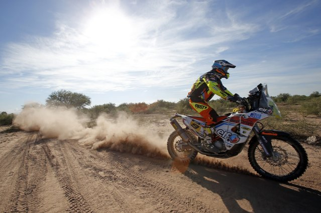 KTM rider David Casteu of France rides during the 2nd stage of the Dakar Rally 2015, from Villa Carlos Paz to San Juan January 5, 2015. (Photo by Jean-Paul Pelissier/Reuters)