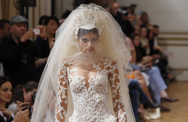 A model wears a creation for fashion designer Zuhair Murad's Haute Couture Fall-Winter 2013-2014 collection presented Thursday, July 4, 2013 in Paris. (Photo by Francois Mori/AP Photo)
