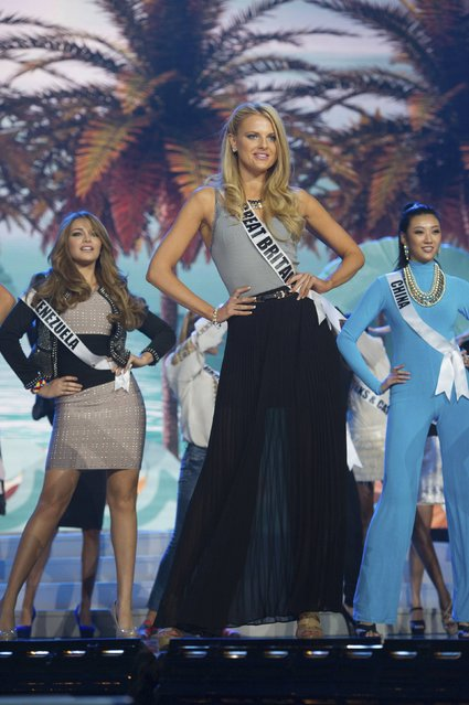 (L-R) Miss Venezuela 2014 Migbelis Castellanos, Miss Britain 2014 Grace Levy, and Miss China 2014 Yanliang Hu rehearse for the 63rd Annual Miss Universe Pageant at Florida International University in Miami, Florida, January 23, 2015. (Photo by Reuters/Miss Universe Organization)
