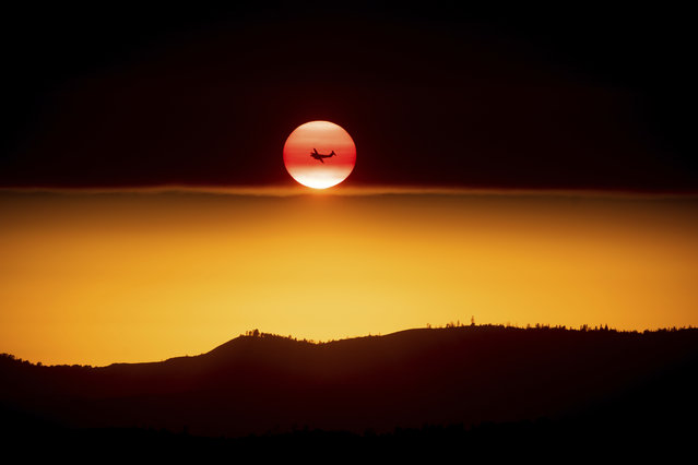 A plane battling the Ferguson Fire passes the setting sun in unincorporated Mariposa County Calif., near Yosemite National Park on Sunday, July 15, 2018. (Photo by Noah Berger/AP Photo)