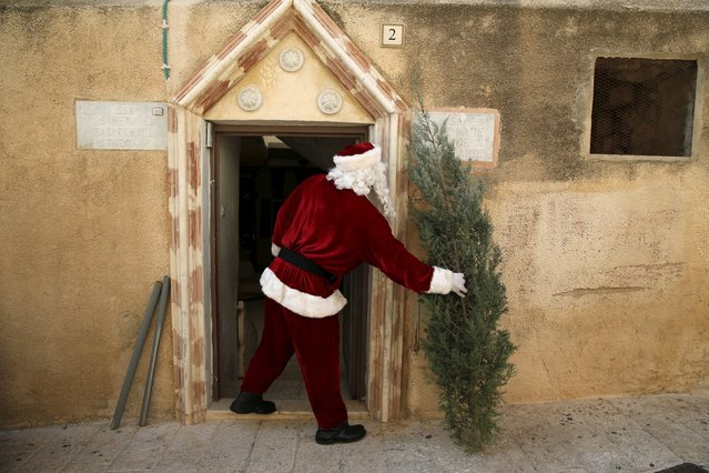 Israeli-Arab Issa Kassissieh wears a Santa Claus costume as he carries a Christmas tree into his house during an annual Christmas tree distribution by the Jerusalem municipality in Jerusalem's Old City December 21, 2015. (Photo by Ammar Awad/Reuters)