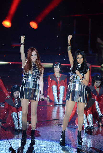 Caroline Hjelt and Aino Jawo of Icona Pop perform onstage during the MTV EMA's 2013 at the Ziggo Dome on November 10, 2013 in Amsterdam, Netherlands. (Photo by Ian Gavan/Getty Images for MTV)