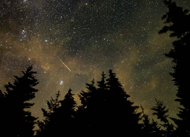 This NASA handout photo shows a 30 second exposure,as a meteor streaks across the sky during the annual Perseid meteor shower on August 11, 2021, in Spruce Knob, West Virginia. (Photo by Bill Ingalls/NASA via AFP Photo)