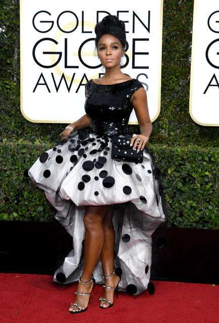 Singer Janelle Monae arrives to the 74th Annual Golden Globe Awards held at the Beverly Hilton Hotel on January 8, 2017. (Photo by Kevork Djansezian/NBC/NBCU Photo Bank via Getty Images)