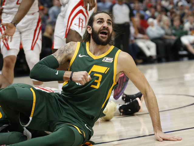 Utah Jazz guard Ricky Rubio (3) reacts after fouling Houston Rockets guard James Harden during the first half of an NBA basketball game Saturday, February 2, 2019, in Salt Lake City. (Photo by Rick Bowmer/AP Photo)
