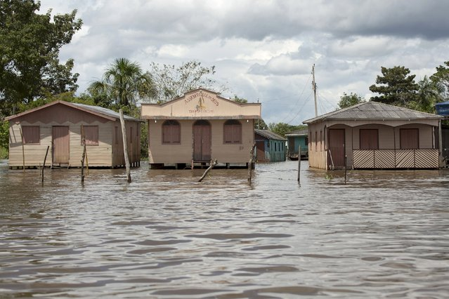 Houses and a church (C) are seen partially flooded with floodwaters from the Solimoes River, in the rural municipality of Manacapuru, in Amazonas state May 5, 2015. (Photo by Bruno Kelly/Reuters)