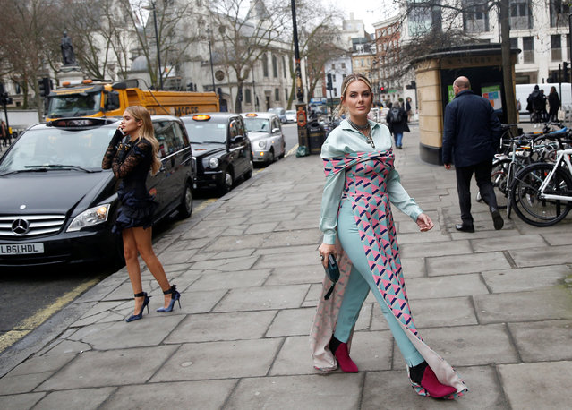 Influencer Anna Magalaes poses for a portrait during London Fashion Week in London, Britain February 21, 2017. (Photo by Neil Hall/Reuters)