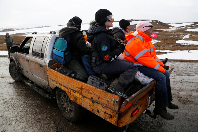 Opponents of the Dakota Access oil pipeline prepare to evacuate their main camp near Cannon Ball, North Dakota, U.S., February 22, 2017. (Photo by Terray Sylvester/Reuters)