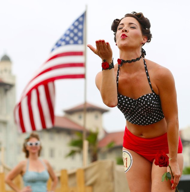 Melody Van Kay, of Sebring, Fla., performs during the Bathing Beauties contest at the Galveston Island Beach Revue in Galveston, Texas on Saturday, May 16, 2015. (Photo by Jon Shapley/Houston Chronicle via AP Photo)