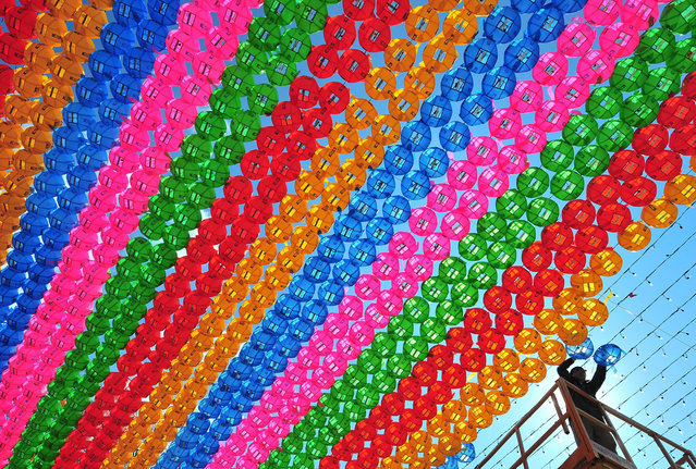 A South Korean worker sets lotus lanterns at Jogye Temple in Seoul on March 21, 2014 ahead of celebrations marking Buddha's birthday on May 6. Buddhism is one of South Korea's largest and most active religions with millions of followers. Although the exact date is unknown, Buddha's official birthday is celebrated on April 8th of the lunar calendar in South Korea. (Photo by Jung Yeon-Je/AFP Photo)