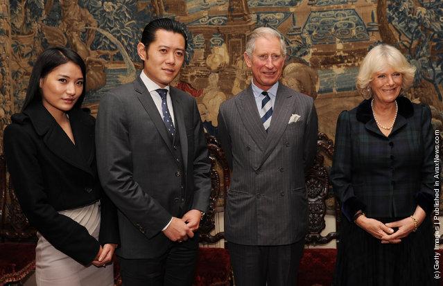 Prince Charles, Prince of Wales (2R) and Camilla, Duchess of Cornwall (R) greet King Jigme Khesar Namgyel Wangchuk (2L) and Queen Jetsun Pema Wangchuk of Bhutan (L) at Clarence House