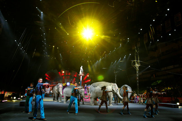 """Elephants walk amongst performers during Ringling Bros and Barnum & Bailey Circus' """"Circus Extreme"""" show at the Mohegan Sun Arena at Casey Plaza in Wilkes-Barre, Pennsylvania, U.S., April 29, 2016. (Photo by Andrew Kelly/Reuters)"""