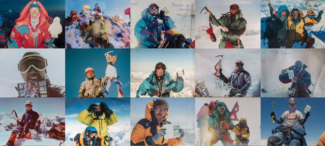 Taking pride in their moments of glory, Sherpa guides pose for snapshots on the summits of Himalayan giants such as Mount Everest (29,035 feet/8,850 meters), Cho Oyu (26,906 feet/8,201 meters), Ama Dablam (22,493 feet/6,812 meters), and Island Peak (20,210 feet/6,160 meters). (Photo by National Geographic)