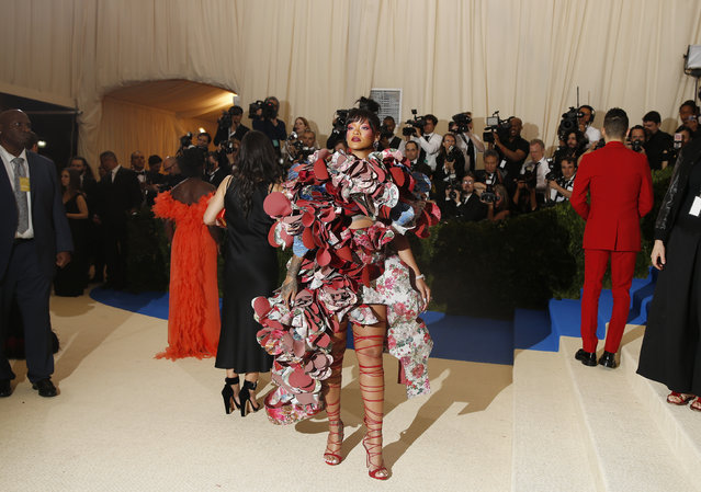 """Rihanna attends """"Rei Kawakubo/Comme des Garcons: Art Of The In-Between"""" Costume Institute Gala – Arrivals at Metropolitan Museum of Art on May 1, 2017 in New York City. (Photo by Carlo Allegri/Reuters)"""