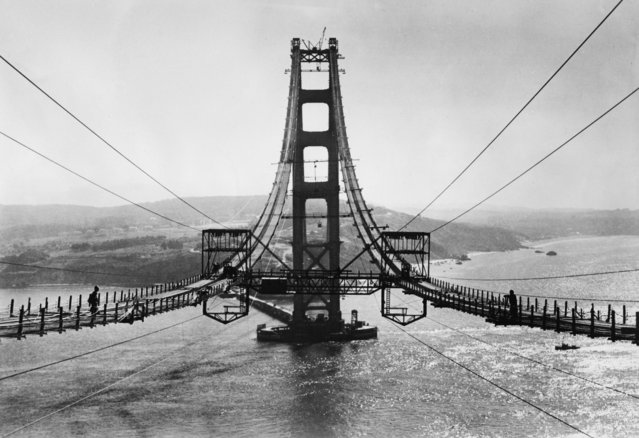View of the Golden Gate Bridge under construction, San Francisco, California, circa 1935. (Photo by Hulton Archive/Getty Images)