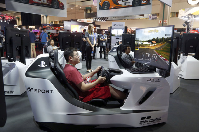 Jay Van visits the PlayStation exhibit at the Electronic Entertainment Expo in Los Angeles on Wednesday, June 15, 2016. (Photo by Nick Ut/AP Photo)