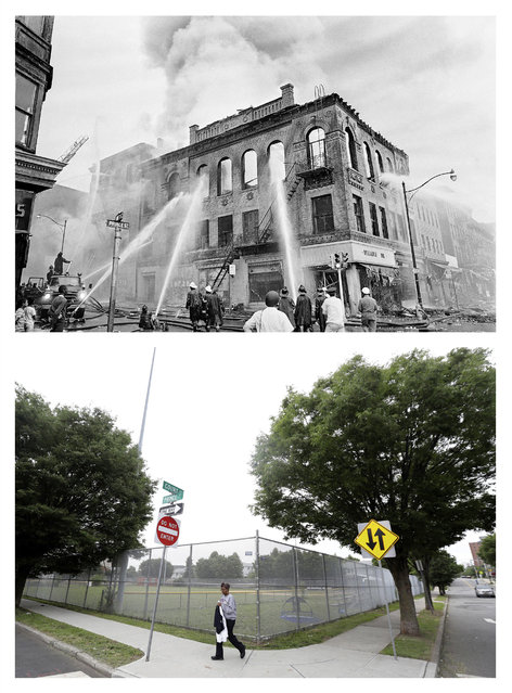In a July 15, 1967 file photo, top, firefighters direct streams of water onto a burning building at the corner of Prince and Court Streets in Newark, N.J., where four days of deadly violence and looting came to be known as the Newark riots. In a June 16, 2017 photo, bottom, 50 years later, a woman carries her clothes past a ball field in the lot on the same corner where the burning building once stood. (Photo by AP Photo/Marty Lederhandler, top; Julio Cortez, bottom)
