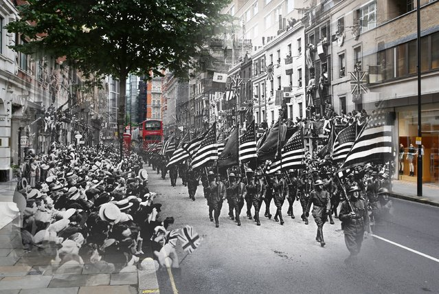 American troops marching down Sloane Street, west London, during World War I, in 1918, digitally composed onto a picture of the iconic street from July. (Photo by Peter Macdiarmid/Getty Images)