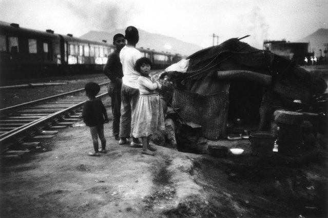 Refugees in post-war Korea who have put up their makeshift home near a railway, 16th July 1955  (Photo by John Chillingworth)